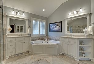Traditional Master Bathroom with Bathtub, Pental quartz antique white bs390, Undermount sink, Flat panel cabinets, Quartz