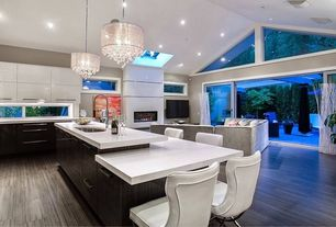 Contemporary Great Room with Skylight, flush light, Chandelier, Hardwood floors, French doors, Dual height countertop