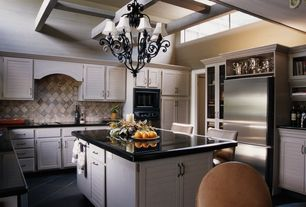 Traditional Kitchen with Flat panel cabinets, Limestone Tile, U-shaped, Custom hood, High ceiling, Exposed beam, Stone Tile