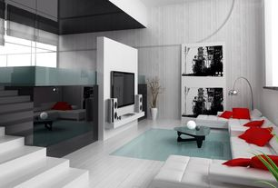 Contemporary Living Room with High ceiling, Laminate floors