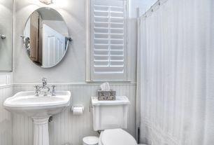 Cottage Full Bathroom with Paint 1, St Thomas Creations Arlington Grande Pedestal Bathroom Sink, Gatco Max Oval Mirror