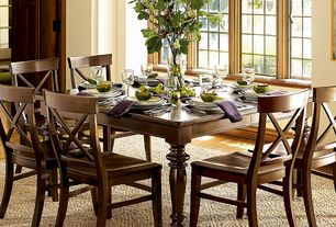 Traditional Dining Room with picture window, Laminate floors, Standard height