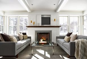 Traditional Living Room with Carpet, Pearl Mantels Homestead Transitional Fireplace Mantel Shelf, Park Manor Gray Sofa