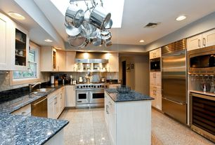 Contemporary Kitchen with Flush, Undermount sink, Flat panel cabinets, U-shaped, quartz tile floors, Simple Granite
