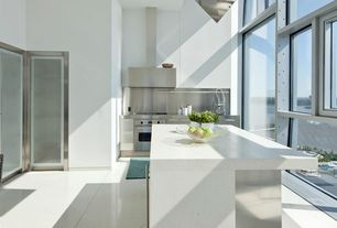 Contemporary Kitchen with Simple granite counters, Flush, Kitchen island, Flat panel cabinets, L-shaped, Stainless Steel