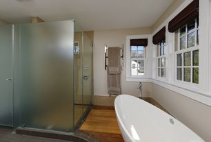 Modern Master Bathroom with Master bathroom, frameless showerdoor, Hardwood floors