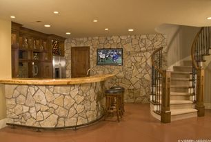 Rustic Bar with sandstone tile floors, can lights, Standard height, stone tile floors, Standard furniture smart bar stool