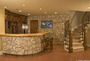 Rustic Bar with sandstone tile floors, specialty door, Standard furniture smart bar stool