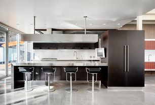 Modern Kitchen with Herringbone Tile, pental bianco perlino honed marble, French doors, European Cabinets, Flush, One-wall
