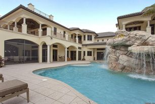 Rustic Swimming Pool with Pool with hot tub, exterior tile floors