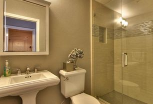 Contemporary 3/4 Bathroom with Pental - white grains limestone tile, Pedestal sink, three quarter bath, specialty door, Paint