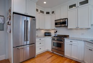 Traditional Kitchen with Framed Partial Panel, Silestone, full backsplash, Samsung French Door Stainless-Steel, Subway Tile