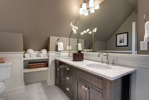 Traditional Master Bathroom with Ms international carrara white marble, Wainscotting, Flat panel cabinets, Undermount sink