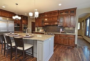 "Contemporary Kitchen with BELLAWOOD Engineered  1/2"" x 5"" American Walnut, Custom hood, Large Ceramic Tile, Pendant light"