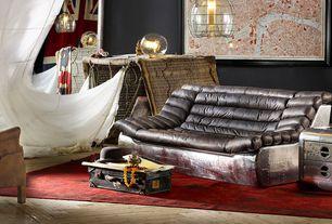 Eclectic Living Room with High ceiling, Hardwood floors, flush light, Pendant light
