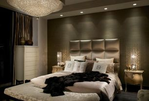 Contemporary Master Bedroom with Sliding curtains, Platform bed, Uttermost Fascination 3 Light Crystal Chandelier, Chandelier