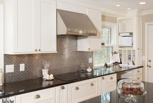 Traditional Kitchen with Standard height, full backsplash, Simple granite counters, CliqStudios Dayton Cabinetry, Wall Hood