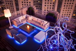 Contemporary Deck with Fire pit, Outdoor sectional furniture, Weatherproof led strip lighting, Pathway