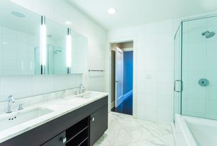 Contemporary Master Bathroom with Wall Tiles, frameless showerdoor, can lights, Double sink, Master bathroom, Undermount sink