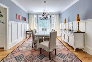 Eclectic Dining Room with Chandelier, Chair rail, Standard height, Hardwood floors, picture window
