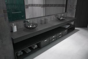 Contemporary Master Bathroom with Inset cabinets, European Cabinets, Vessel sink, Kraus gv-104 clear charcoal vessel sink
