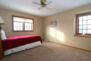 Craftsman Guest Bedroom with Ceiling fan, Carpet