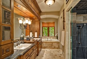 Craftsman Master Bathroom with Soapstone, frameless showerdoor, Maxim Lighting Berklee 3 - Light Invert Bowl Pendant