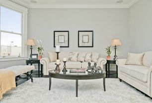 Traditional Living Room with Concrete floors, Crown molding, Furniture of america sholin micro denier sofa/loveseat set
