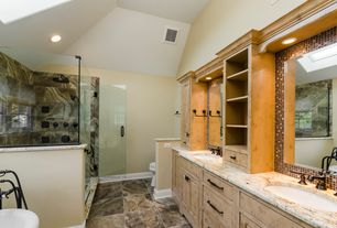 Eclectic Master Bathroom with frameless showerdoor, European Cabinets, High ceiling, Inset cabinets, Master bathroom