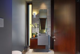 Contemporary Powder Room with Flush, Powder room, Wall mounted sink, European Cabinets, Wall sconce, Soapstone counters