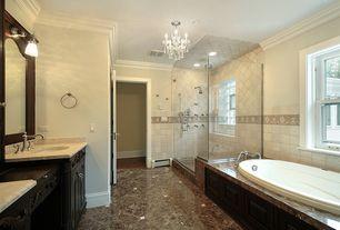 Contemporary Master Bathroom with Tile floor, frameless showerdoor, specialty door, Undermount sink, Raised panel, Flush