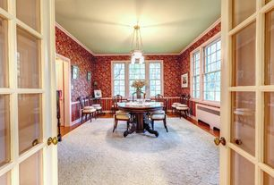 Traditional Dining Room with interior wallpaper, six panel door, French doors, Chandelier, Laminate floors, Chair rail