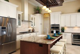 Traditional Kitchen with European Cabinets, Breakfast bar, limestone tile floors, flush light, Flat panel cabinets, L-shaped