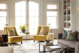 Traditional Living Room with Built-in bookshelf, Hardwood floors, French doors