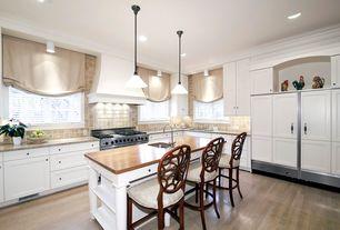 Traditional Kitchen with Simple granite counters, Breakfast bar, Undermount sink, Stone Tile, Pendant light, L-shaped