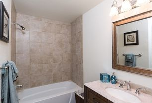 Traditional Full Bathroom with tiled wall showerbath, shower bath combo, drop in bathtub, Limestone, Flat panel cabinets