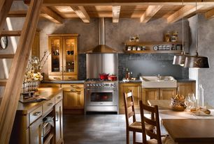 Country Kitchen with Pendant light, full backsplash, European Cabinets, travertine tile floors, large ceramic tile floors