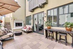 Contemporary Patio with exterior tile floors, French doors, double-hung window, Fire pit, exterior concrete tile floors