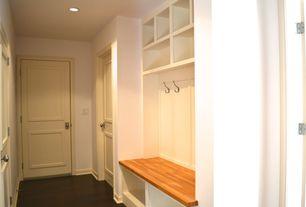 Contemporary Mud Room with Hardwood floors, Built-in bookshelf, specialty door