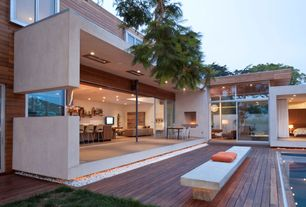 Contemporary Exterior of Home with Heated deck floor, Concrete bench