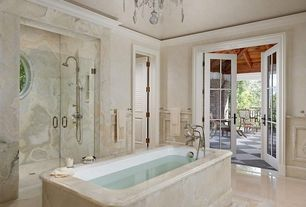 Traditional Master Bathroom with slate tile floors, specialty window, Standard height, Ceiling molding, Paint 2, Chandelier