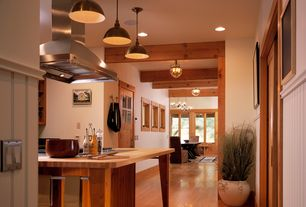 Craftsman Kitchen with Soapstone counters, Exposed beam, Wainscoting, Breakfast nook, Pendant light, Hardwood floors