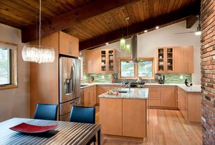 Contemporary Kitchen with Kitchen island, Ceramic Tile, U-shaped, Flush, Pendant light, European Cabinets, Exposed beam