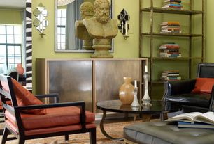 Eclectic Living Room with Wall sconce, Chandelier, Standard height, double-hung window, Hardwood floors