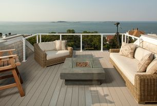 Contemporary Deck with Fire pit table, Rattan love seat with cushions