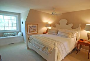 Traditional Guest Bedroom with Carpet, Window seat, Ceiling fan