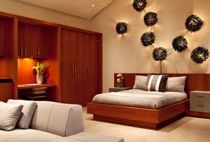 Contemporary Master Bedroom with Built-in bookshelf, Wall sconce, High ceiling, Concrete tile