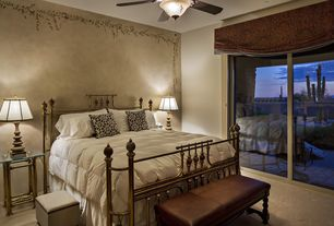 Mediterranean Master Bedroom with picture window, interior wallpaper, Standard height, Carpet, Ceiling fan