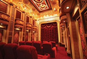Traditional Home Theater with can lights, High ceiling, Pendant light
