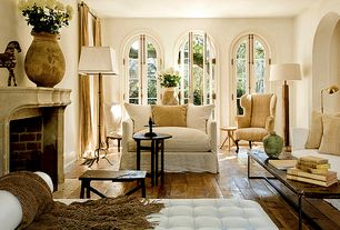 Traditional Living Room with Cement fireplace, Fireplace, Standard height, Hardwood floors, Grey transitional chaise